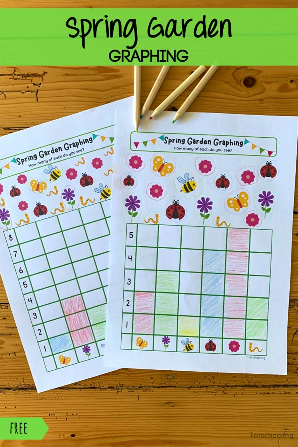 FREE printable Spring themed graphing activity for preschool and kindergarten kids to practice math skills!