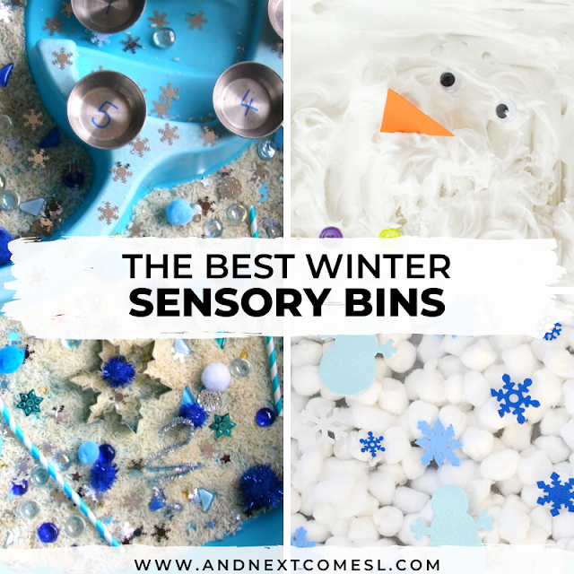 Winter sensory bin ideas for preschool and toddlers
