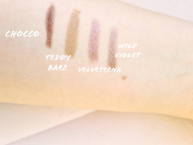 Beauty Pie Wonder Colour Longwear Cream Eyeshadow Stick swatches Teddy Bare, Chocco, Velveteena, Wild Violet