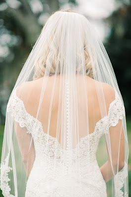 bride wedding dress with low back and buttons on veil