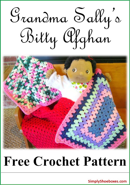 Bitty afghan free crochet pattern designed for an Operation Christmas Child shoebox.