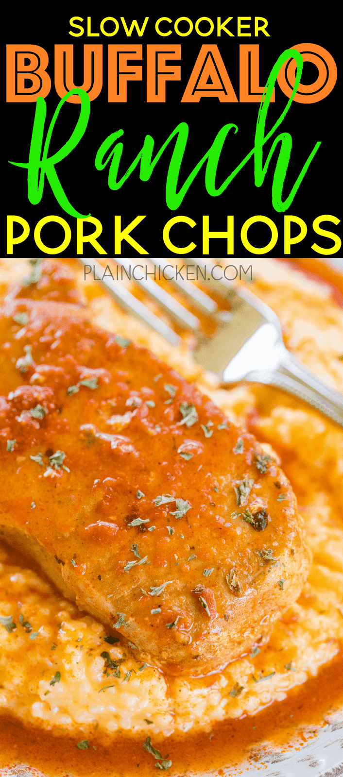Slow Cooker Buffalo Ranch Pork Chops - only 3 ingredients! These are some of the best pork chops we've ever eaten! So simple and SOOOO good!!!! Everyone cleaned their plate! Great for watching football! Serve over cheddar ranch grits! TO-DIE-FOR! YUM!