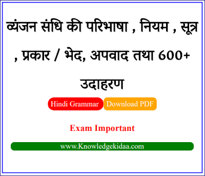 व्यंजन संधि की परिभाषा , नियम , सूत्र , प्रकार / भेद, अपवाद तथा 600+ उदाहरण   PDF Download  