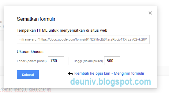 menyematkan google form halaman website