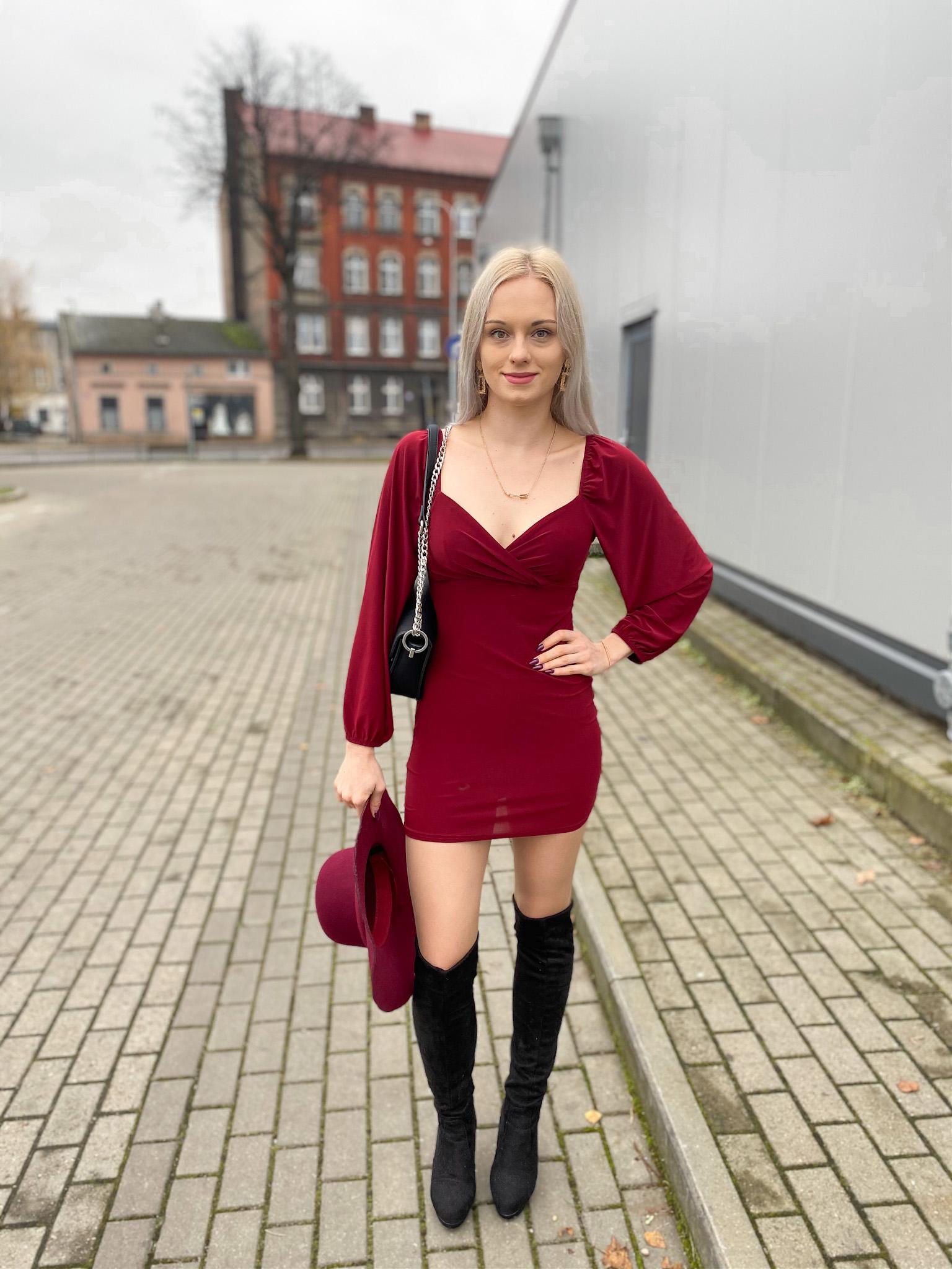 Wine Slinky Balloon Sleeve Bardot Mini Dress - Meghan - Femme Luxe