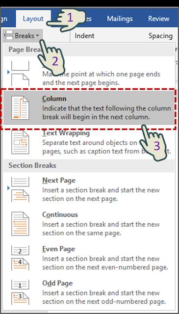 Menyisipkan Manual column break