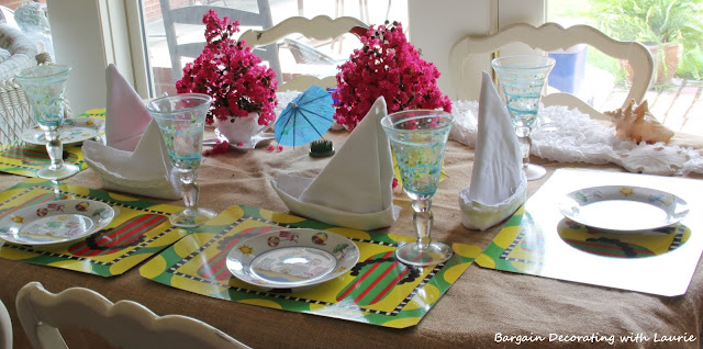 Dessert Table for Beachy Tablescape-Bargain Decorating with Laurie