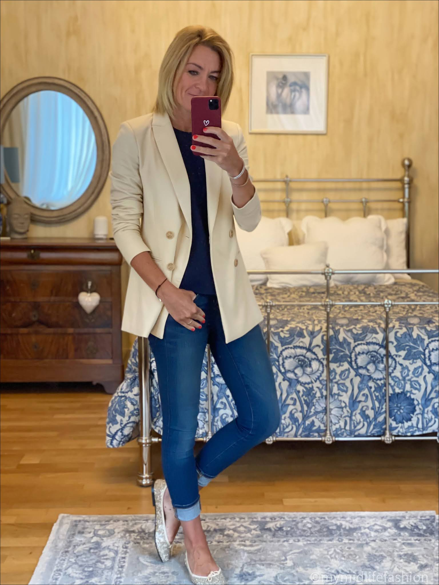my midlife fashion, saint and Sofia Cambridge double breasted blazer, tibi tank top, j crew 8 inch toothpick skinny jeans, French sole Henrietta glitter ballet pumps