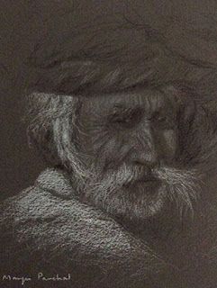 Charcoal and white pastel pencil portrait sketching of an old man by Manju Panchal