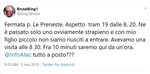 Situazione del trasporto pubblico di Roma di martedì 5 novembre
