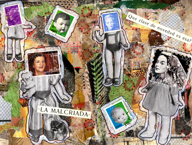 Altered book with doll collages