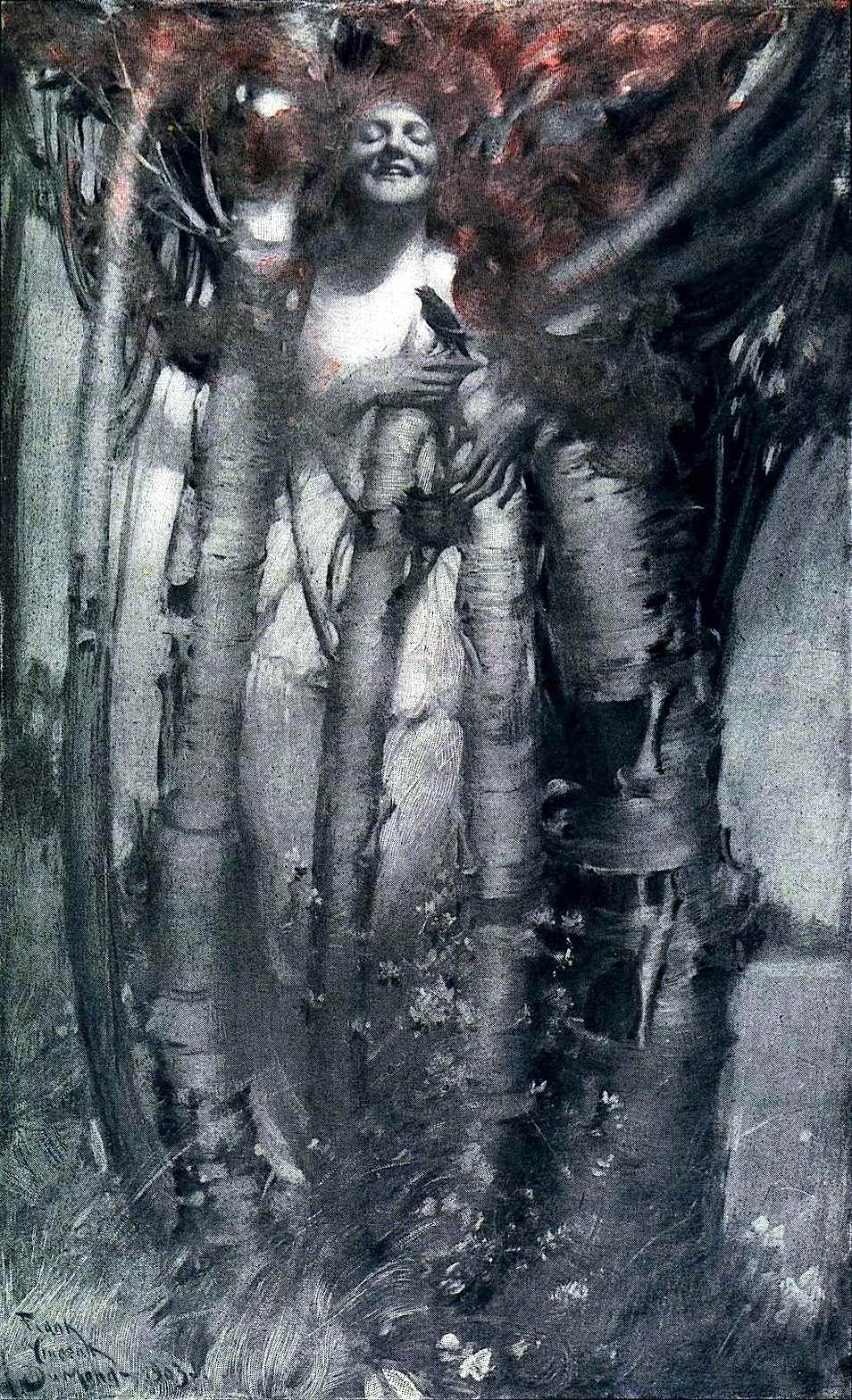 a Frank V. Dumond illustration of a woman feeling other living things in nature