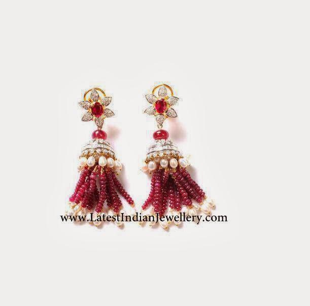 Diamond Jhumkis ruby beads