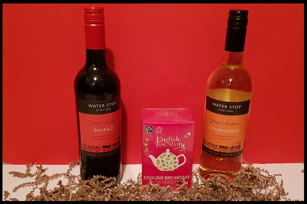 Drinks received in a Prestige Hampers basket