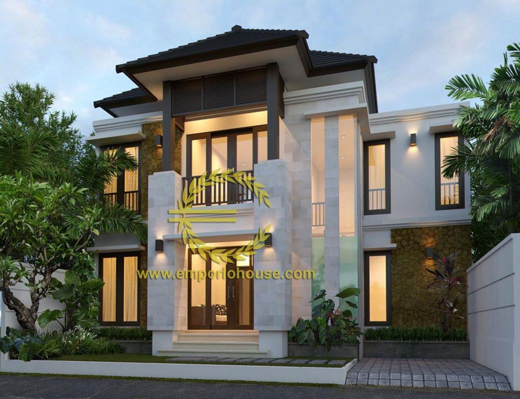 desain rumah gaya tropis 2 lantai inspiratif