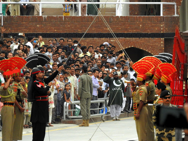 The parade itself and the lowering of the flags on either side of the border at sunset | Wagah, Punjab (April 2016)