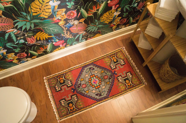 Colorful Powder Bath Makeover Small Vintage Turkish Rug