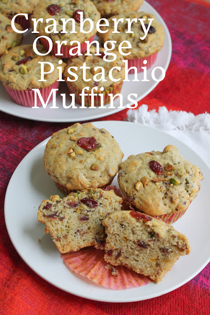 Food Lust People Love: These Cranberry Orange Pistachio Vegan Muffins tick all the right boxes, tender flavorful crumb, sticky fruit, crunchy nuts. They are a wonderful treat for all the family, even the vegans among you since they are dairy-free and eggless.