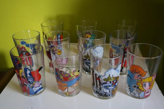 Les fous du volant, Albator , Maya l'abeille , Goldorak , Candy wacky race glass verre dessins animés 1970s 70s années 70