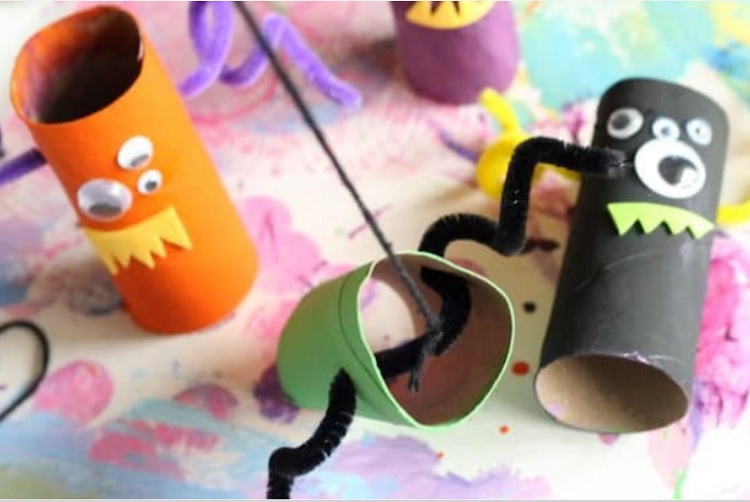 toilet paper roll monsters with stickers and googly eyes