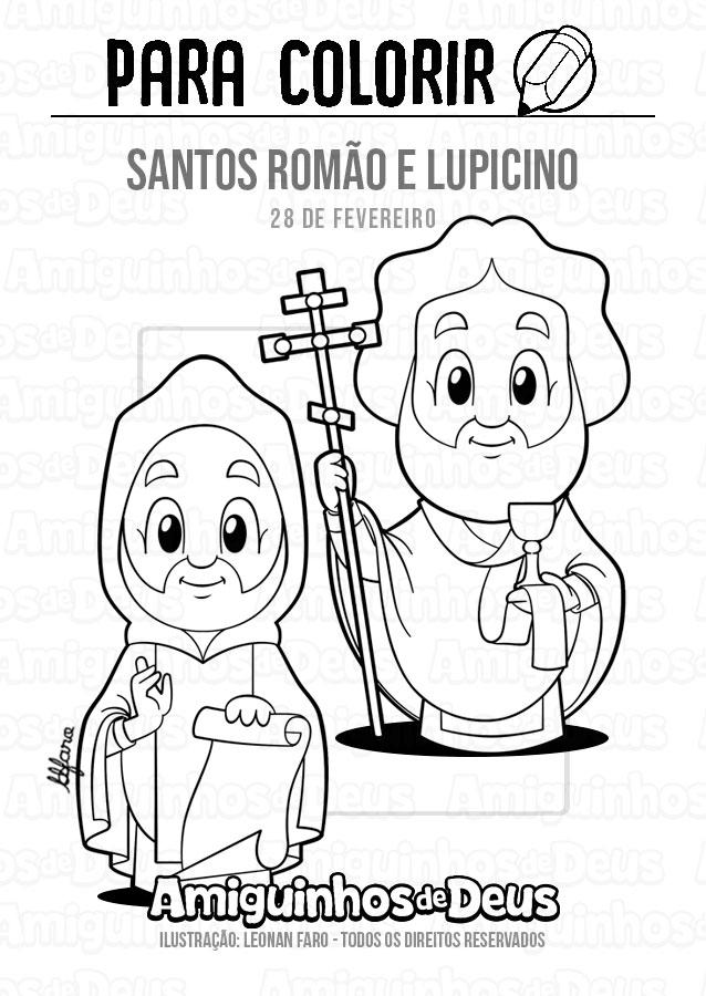 Santos Romão e Lupicino desenho para colorir