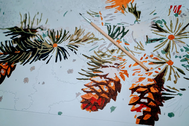 Paint by numbers with paintbrush