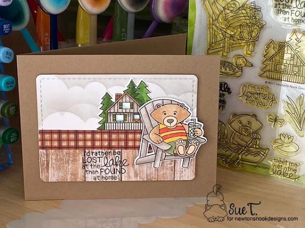 I'd rather be lost at the lake by Sue features Clouds and Winston's Lake House by Newton's Nook Designs; #inkypaws, #newtonsnook, #cardmaking, #cabincards