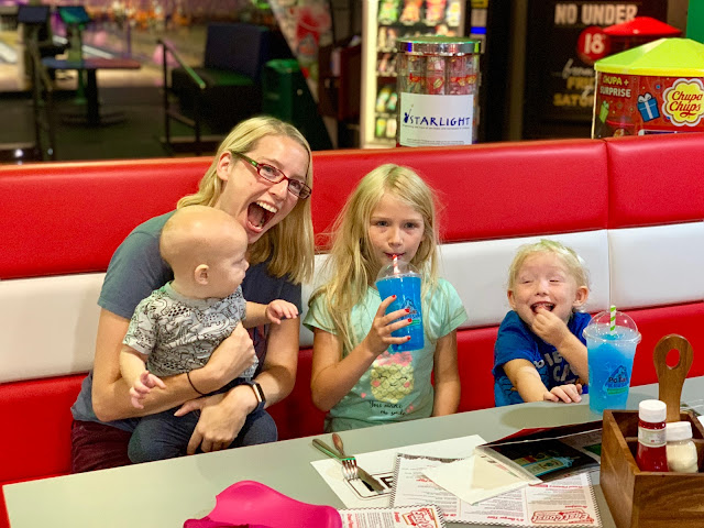 Having fun with the children while waiting for food in the East Coast Diner at RollerBowl