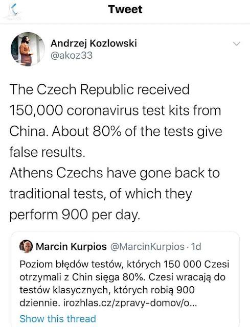 """KIT xét nghiệm Trung Quốc """"gửi tặng"""" Cộng hòa Séc cho kết quả sai đến 80%"""