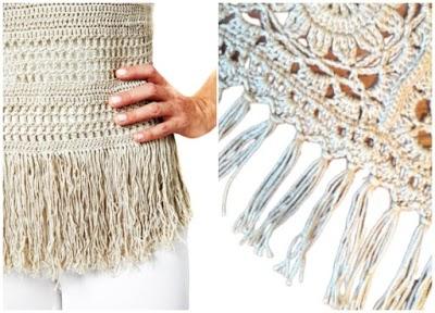 Prendas diversas con terminación flecos a crochet
