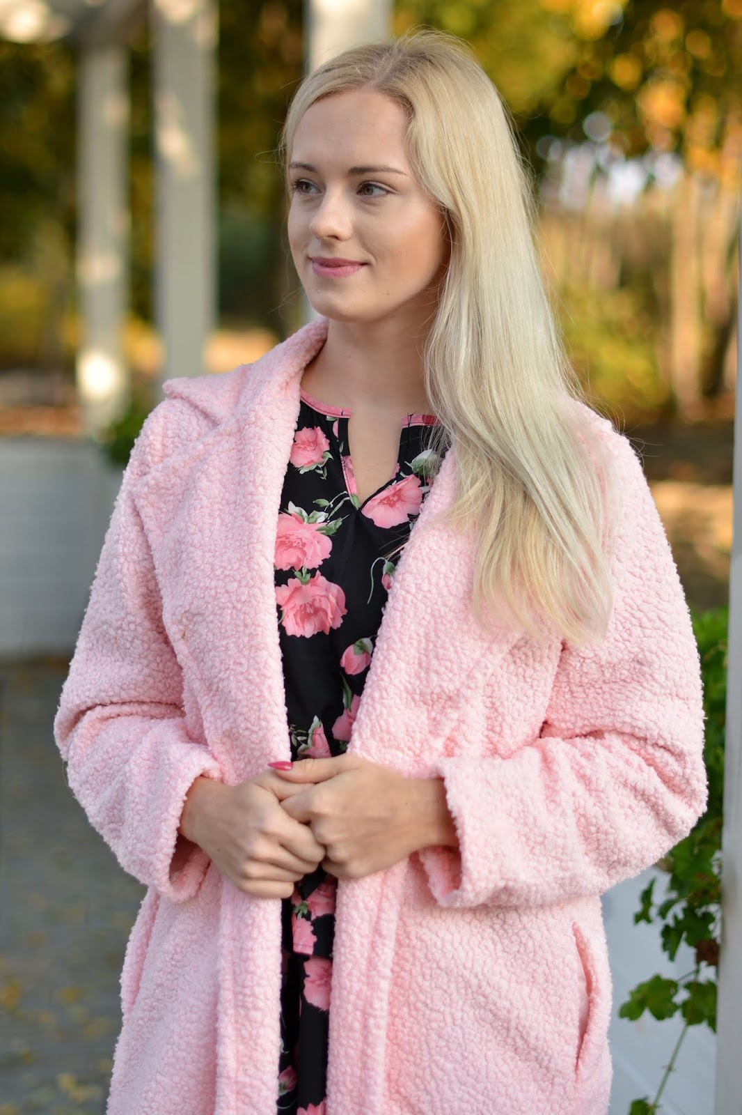 Pink Long Length Teddy Coat