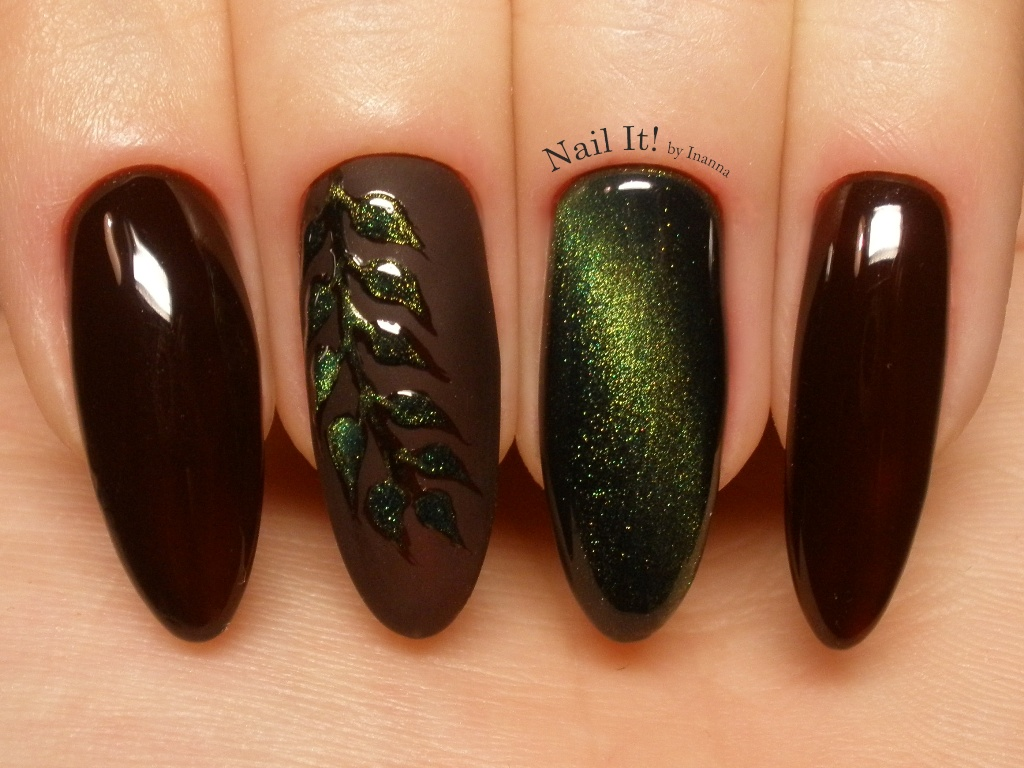 "Autumn Metallic Leaf (made with Indigo Nails ""Voodoo"" gel polish and ""Rio de Janeiro"" cat eye gel)"