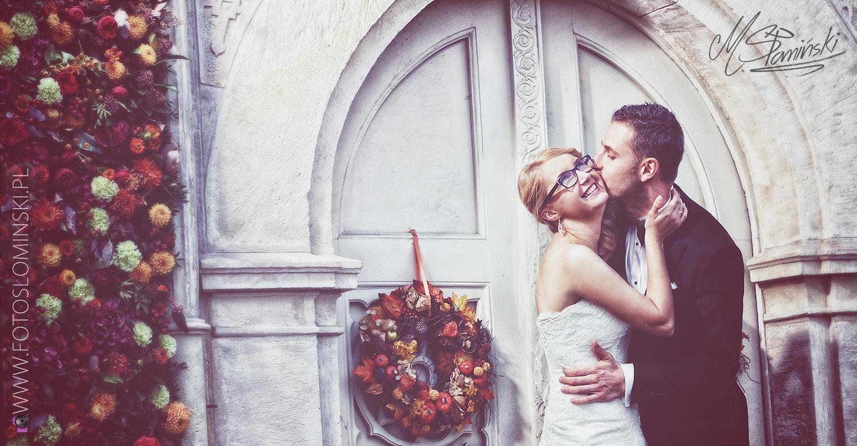 Fotografia ślubna - Pastelowa sesja ślubna w pałacu Wojanów. Fotograf wrocław.