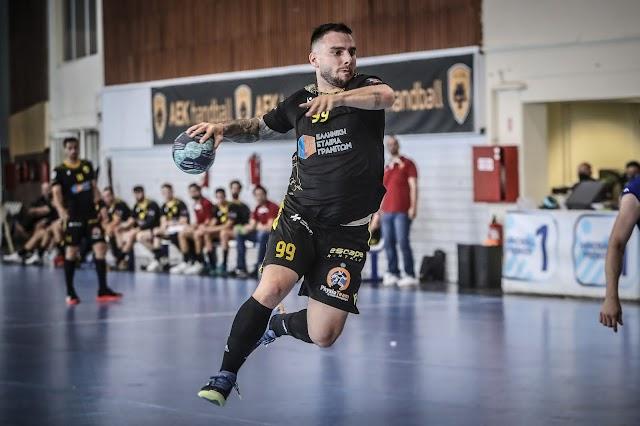 Handball Premier Ελλάδα (1η gw): Άνετη νίκη της ΑΕΚ επί της Σαλαμίνας,  με κορυφαίο τον Καραμπουρνιώτη επικράτησαν οι ερυθρόλευκοι