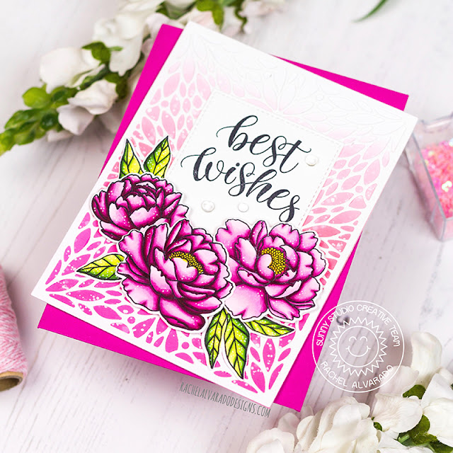 Sunny Studio Stamps: Blooming Frame Die Pink Peonies Best Wishes Card by Rachel Alvarado