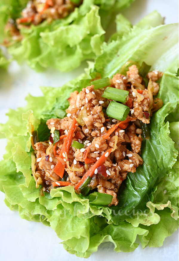 another close up of Thai chicken lettuce wraps