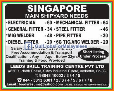 Singapore job vacancies - Gulf Jobs for Malayalees