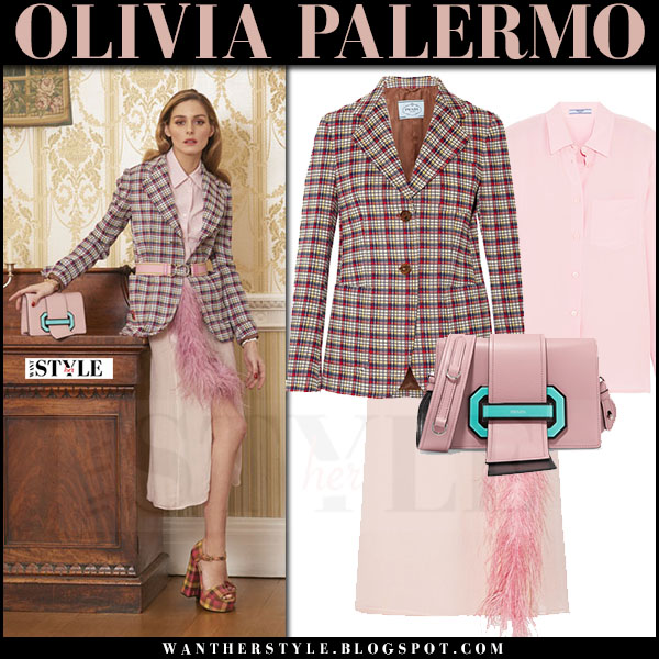 Olivia Palermo in red blazer, pink feather trimmed prada skirt with pink bag what she wore april 2017