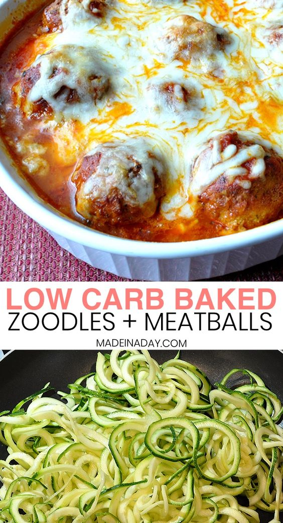 Low Carb Baked Zoodles and Meatballs