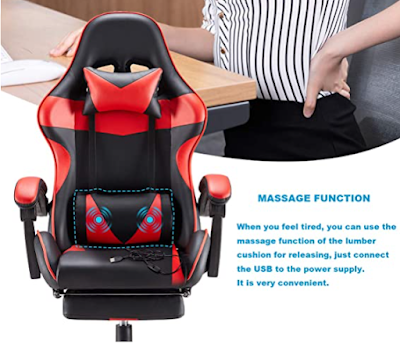 Leather gaming chair with massage support