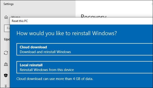 خيار Cloud Download لإعادة تعيين (أو إعادة تثبيت) Windows 10.
