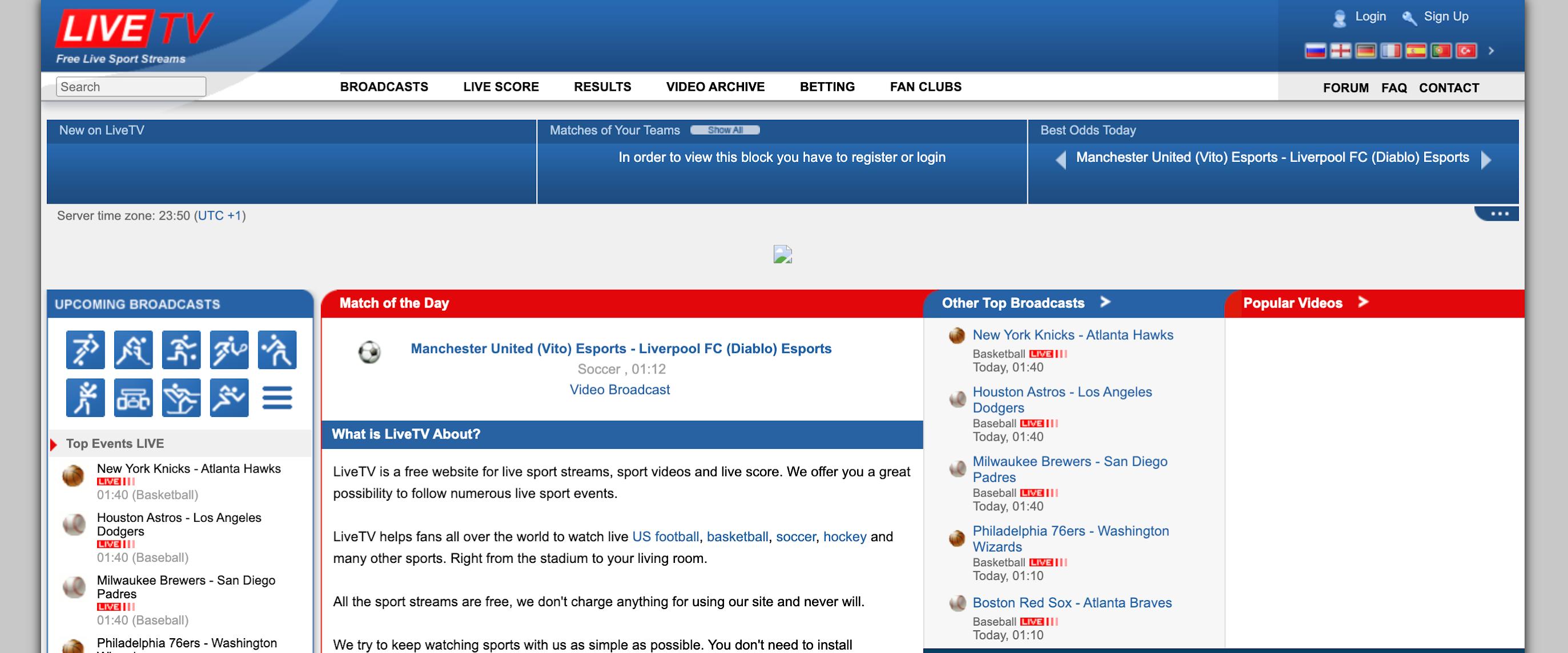 LiveTV sports streaming sites free