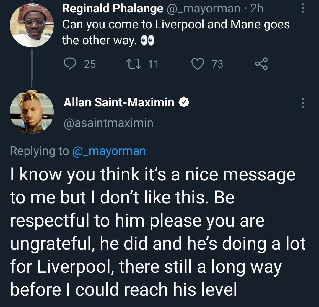 Allan Saint-Maximin slams Liverpool fan for disrespecting Sadio Mané