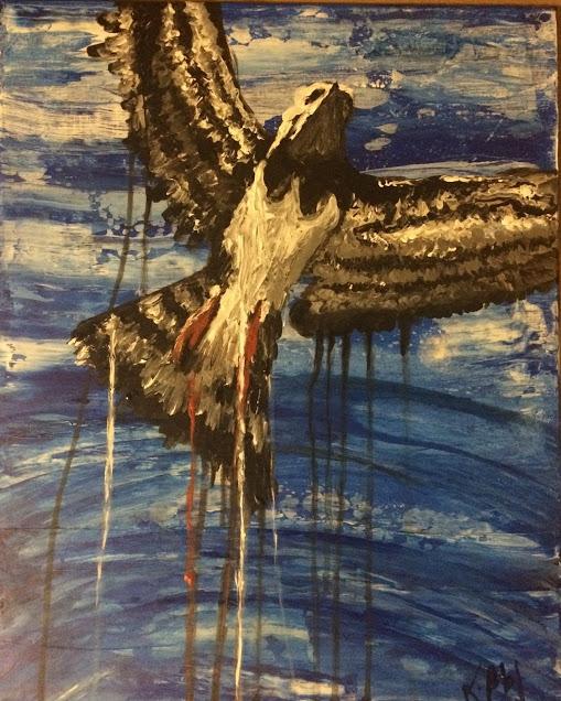 aigle peint par Karine Babel artiste en Périgord