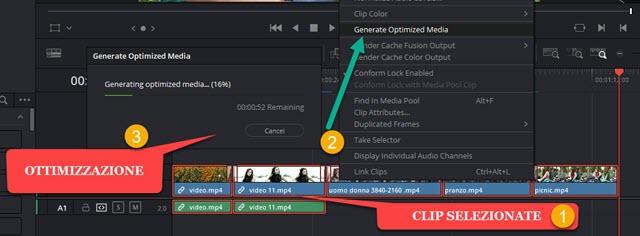 ottimizzazione delle clip con davinci resolve