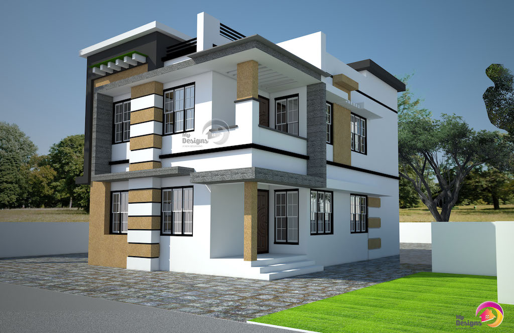 Contemporary Style Home Design of 1638 Sqft