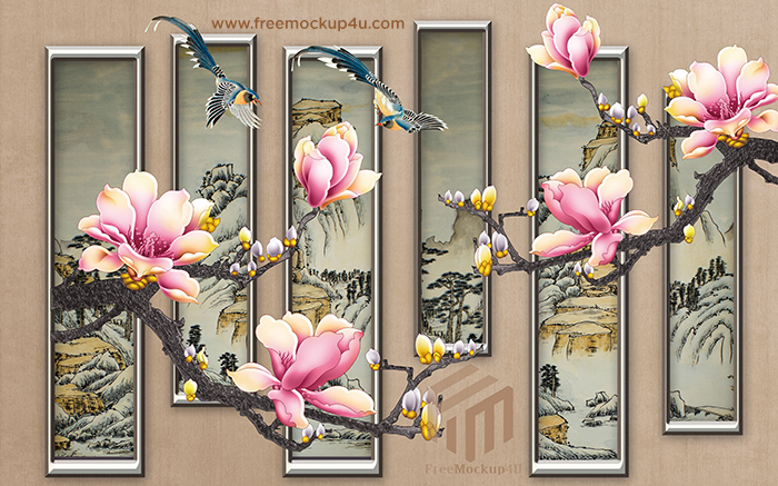Chinese Style Beautiful Creative Landscape Painting Flowers And Birds Background Wall