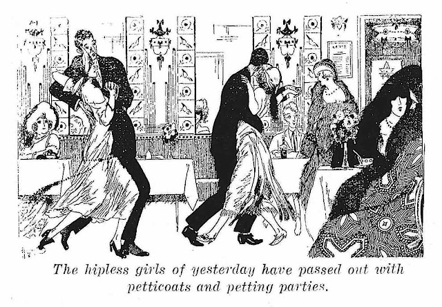 1933 fashion cartoon, the 1930s ridicule the 1920s as old fashioned