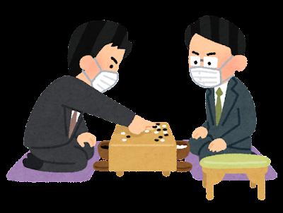 マスクを付けた囲碁の対局のイラスト(男性)