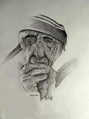 Beautiful ArtWork Of Mother Teresa By Famous Tumblr Artist Riya Sen.